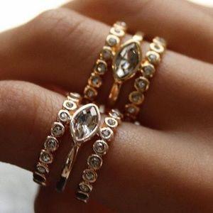 Luv AJ Marquise Diamond Disc Statement Ring